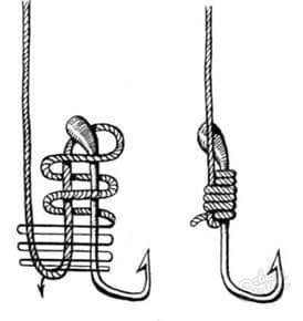 Как привязывать крючок с лопаткой к леске и плетенке: лучшие узлы
