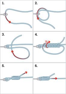Надежный узел для карабина и шнура Braided Line Knot